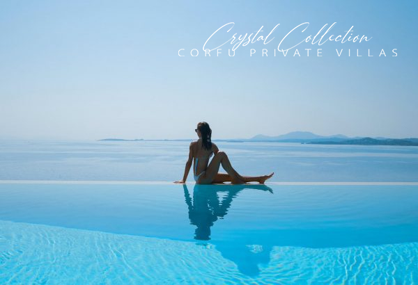 Woman sitting at infinity pool of Sea View Villa in Corfu, Villa Domina